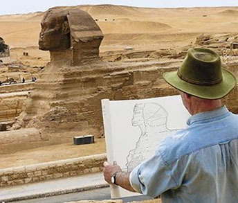 Mark Lehner drawing the sphinx at Giza