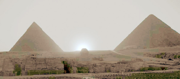 solstitial sunset at Giza/ Photo J.A.Belmonte